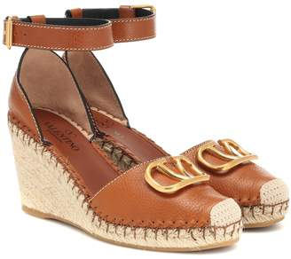 Valentino VLOGO leather wedge espadrilles