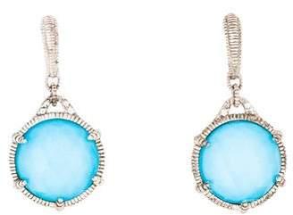 Judith Ripka Turquoise Doublet & Topaz Drop Earrings
