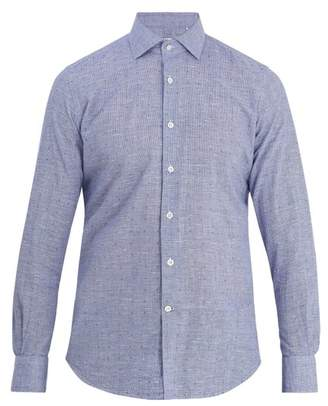 Glanshirt Long Sleeved Slim Fit Cotton Shirt - Mens - Blue