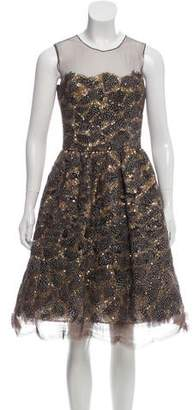 Oscar de la Renta Embellished Mesh Dress