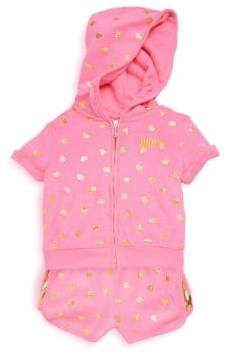 Juicy Couture Baby's Two-Piece Heart Hoodie and Shorts Set