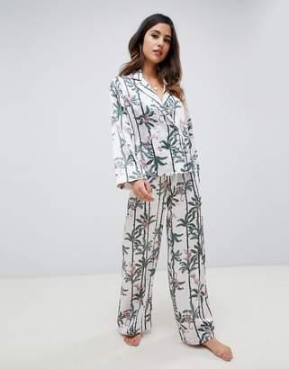 Asos Design DESIGN monkey print double breasted shirt and PANTS pyjama set