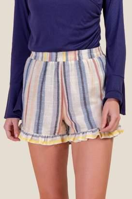 francesca's Patricia Ruffled Hem Shorts - Chambray