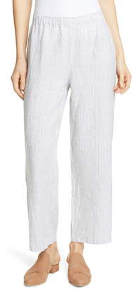 Eileen Fisher Stripe Straight Leg Crop Linen Pants