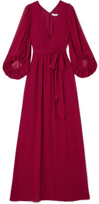 Halston Fortuny Plissé-chiffon Gown - Red