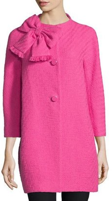 Kate Spade New York Dorothy Cotton-Tweed Bracelet-Sleeve Coat, Night Rose $548 thestylecure.com