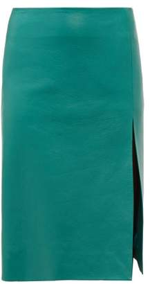 Balenciaga Front Split Leather Midi Skirt - Womens - Green