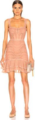 Jonathan Simkhai Lace Bustier Mini Ruffle Dress