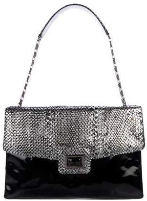 Kara Ross Python-Trimmed Shoulder Bag