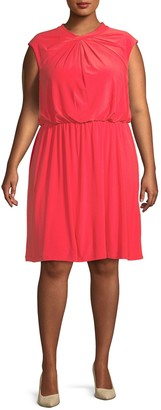 Adrianna Papell Plus Cap-Sleeve Fit-&-Flare Dress