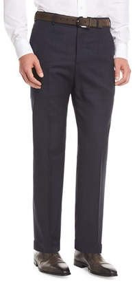 Armani Collezioni Melange Wool Dress Pants, Navy