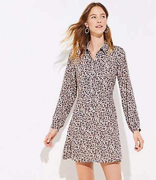 LOFT Petite Leopard Print Flare Shirtdress