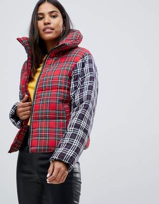 Asos DESIGN plaid oversized neck padded jacket
