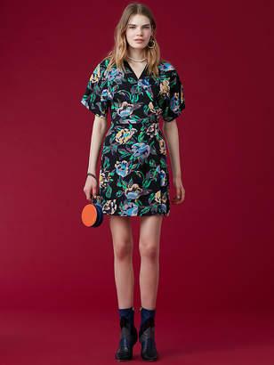 Diane von Furstenberg Short-Sleeve V-Neck Mini Wrap Dress