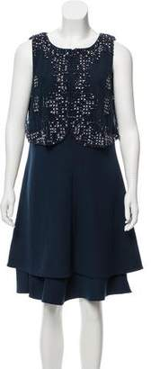 Armani Collezioni Embellished Knee-Length Dress