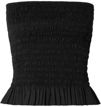 ATM Anthony Thomas Melillo Shirred Cotton-poplin Bustier Top