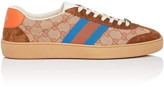 Gucci Men's Web-Striped Canvas & Suede Sneakers