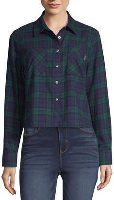 U.S. Polo Assn. Womens Long Sleeve Flannel Shirt-Juniors