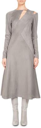 Neiman Marcus Pascal Millet Faux-Suede Cutout Midi Dress