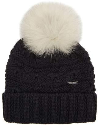 Woolrich Serenity Grey Fur Pompom Wool Beanie