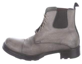 Miu Miu Leather Combat Ankle Boots