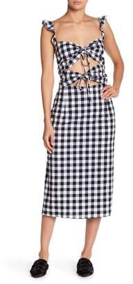 WAYF Cutout Print Midi Dress