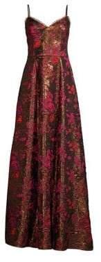 Aidan Mattox V-Neck Metallic Jacquard Gown