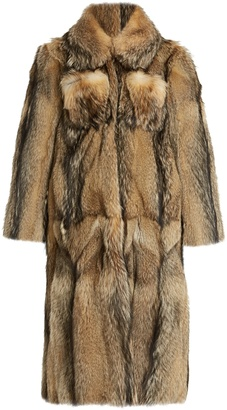 Oversized-collar fur coat
