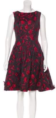 Oscar de la Renta Jacquard Floral Dress Black Jacquard Floral Dress