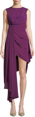Off-White Sleeveless Draped Asymmetric High-Low Dress