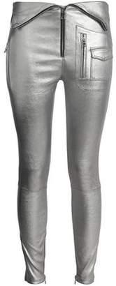 RtA Layered Metallic Leather Skinny Pants