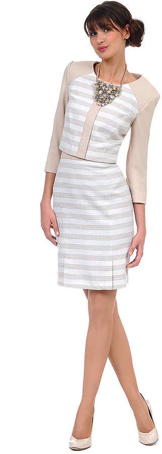Kay Unger Textured Metallic Stripe Skirt