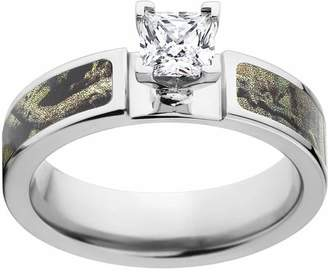 Mossy Oak Break Up Infinity Camo 1 Carat T.G.W. Princess CZ in 14kt White Gold Prong Setting Cobalt Engagement Ring with Polished Edges and Deluxe Comfort Fit