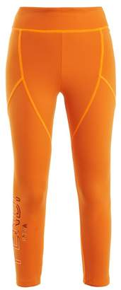 Fendi - Logo Print Cropped Performance Leggings - Womens - Orange