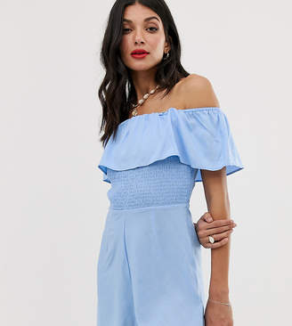 Asos Tall DESIGN Tall off shoulder ruffle romper with shirring