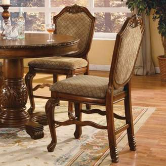 ACME Furniture ACME Chateau De Ville Counter Height Chair, Fabric & Cherry (Set of 2)