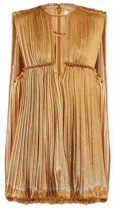 Chloé Degrade Pleated Silk Mini Dress - Womens - Gold