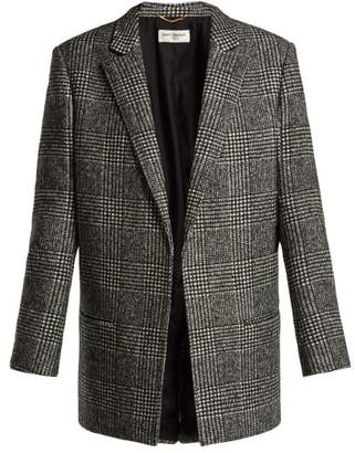 Saint Laurent Prince Of Wales Check Wool Blend Jacket - Womens - Grey Multi