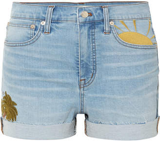 Madewell Embroidered Denim Shorts - Blue