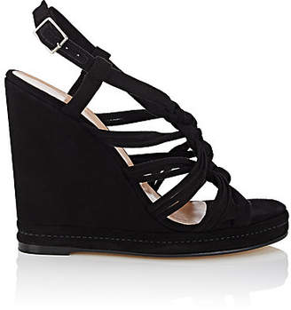 Barneys New York WOMEN'S KNOTTED-STRAP SUEDE PLATFORM-WEDGE SANDALS - BLACK SIZE 9