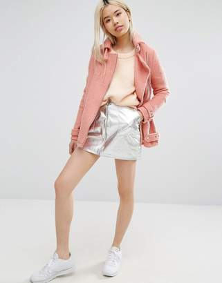 Style Nanda Stylenanda Metallic Mini Skirt With Pull Zip Ring