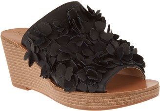 Sole Society Leather Floral Wedges - Poppi