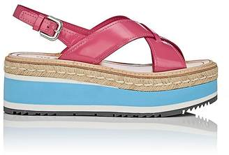 Prada Women's Leather Platform-Wedge Sandals $830 thestylecure.com