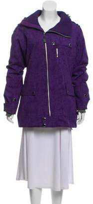 Burton Fur-Trimmed Short Coat Purple Fur-Trimmed Short Coat