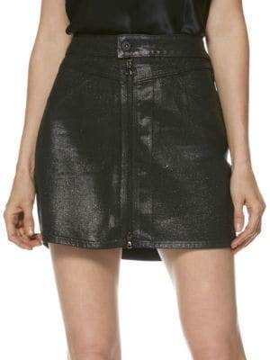 Paige Jasmine Metallic-Coated Zip Mini Skirt