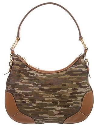 Prada Leather-Trim Camouflage Hobo