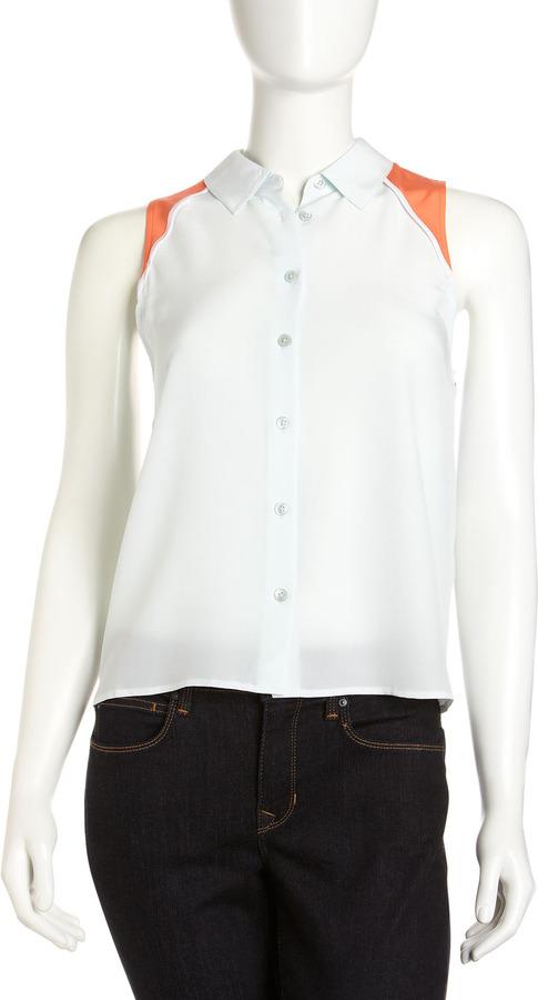 Equipment Mina Colorblock Sleeveless Silk Shirt