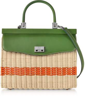 Rodo Woven Wicker and Leather Top-Handle Bag