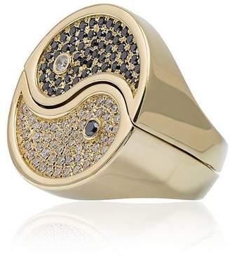 Yin & Yang Established 18kt gold two piece Yin Yang ring with diamonds