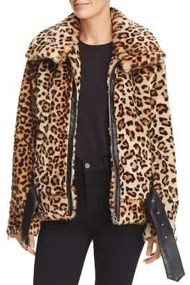 Blank NYC BLANKNYC Faux-Fur Leopard Print Moto Jacket